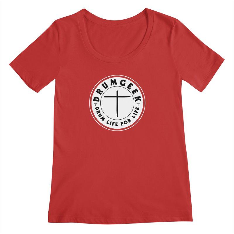 Christian Drum Geek (Style 2) - Solid Logo Women's Regular Scoop Neck by Drum Geek Online Shop