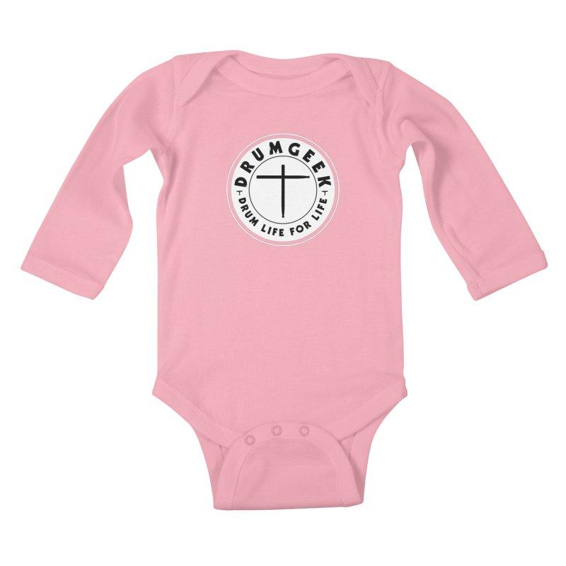 Christian Drum Geek (Style 2) - Solid Logo Kids Baby Longsleeve Bodysuit by Drum Geek Online Shop