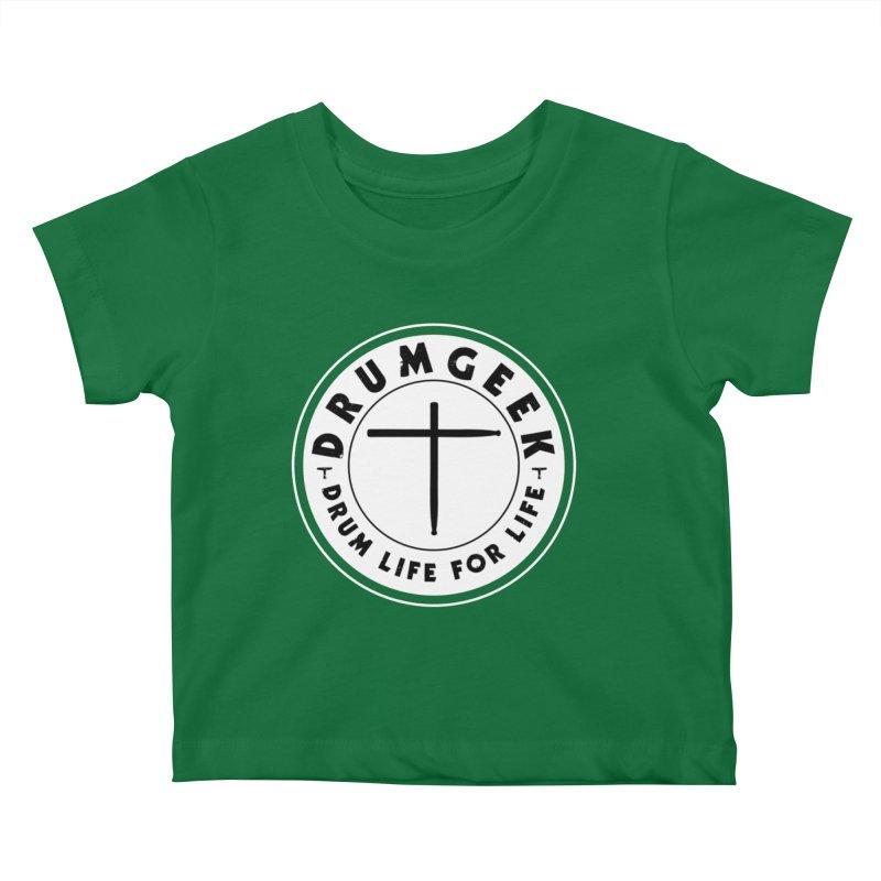 Christian Drum Geek (Style 2) - Solid Logo Kids Baby T-Shirt by Drum Geek Online Shop