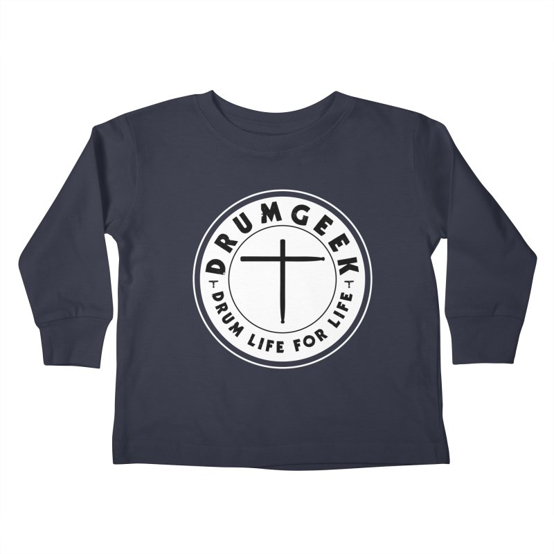 Christian Drum Geek (Style 2) - Solid Logo Kids Toddler Longsleeve T-Shirt by Drum Geek Online Shop
