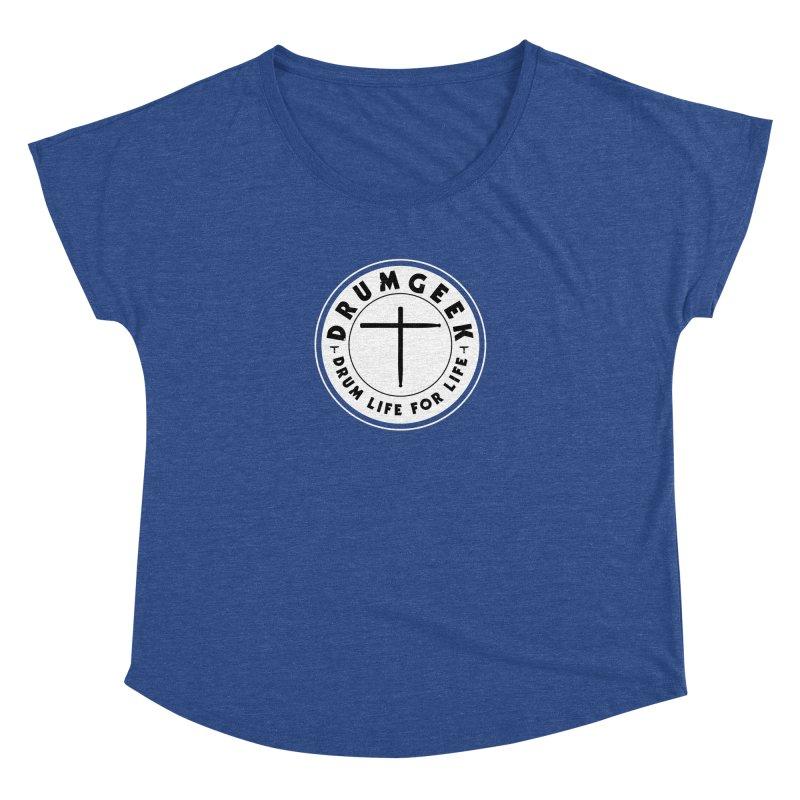 Christian Drum Geek (Style 2) - Solid Logo Women's Dolman Scoop Neck by Drum Geek Online Shop