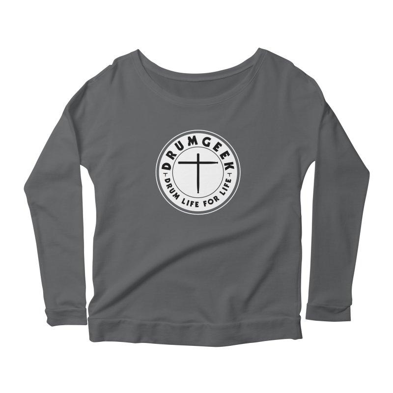 Christian Drum Geek (Style 2) - Solid Logo Women's Scoop Neck Longsleeve T-Shirt by Drum Geek Online Shop