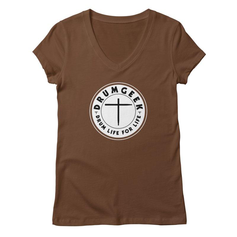 Christian Drum Geek (Style 2) - Solid Logo Women's Regular V-Neck by Drum Geek Online Shop