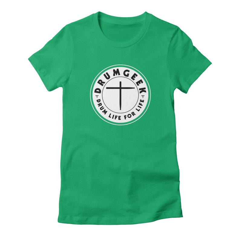 Christian Drum Geek (Style 2) - Solid Logo Women's Fitted T-Shirt by Drum Geek Online Shop