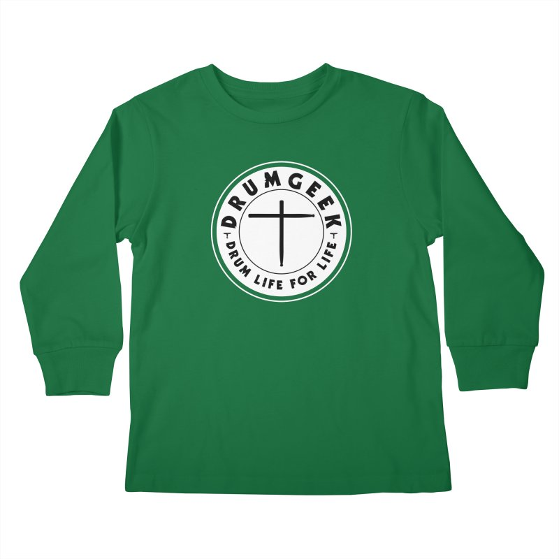 Christian Drum Geek (Style 2) - Solid Logo Kids Longsleeve T-Shirt by Drum Geek Online Shop