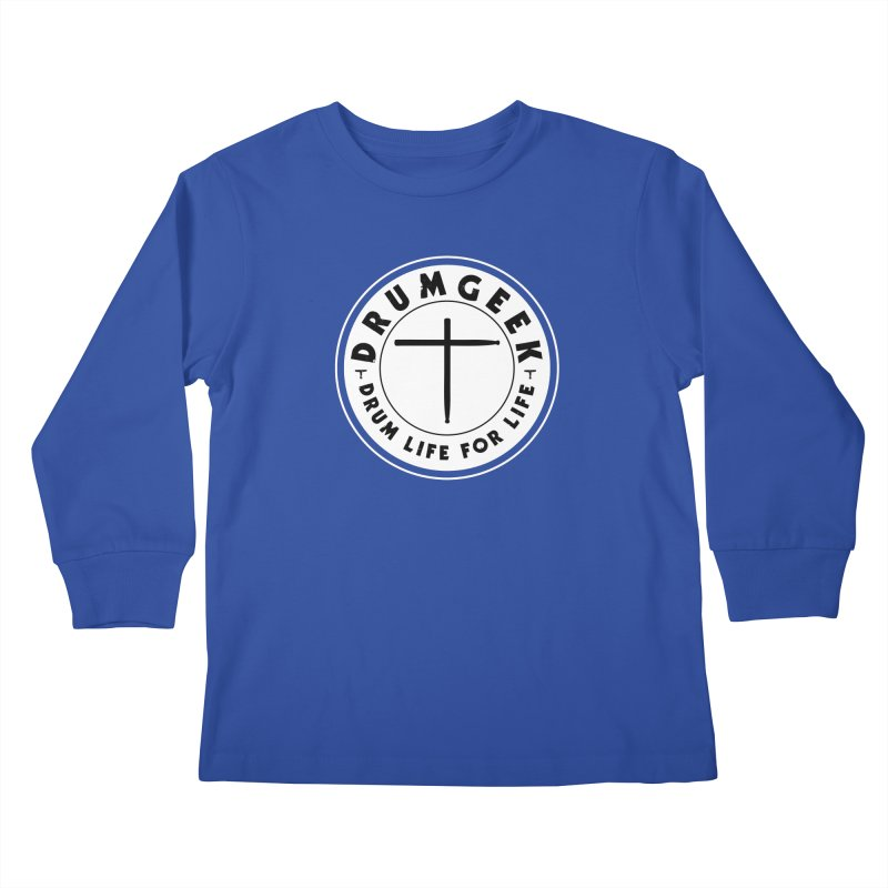 Christian Drum Geek (Style 2) - Solid Logo Kids Longsleeve T-Shirt by Drum Geek Online Shop