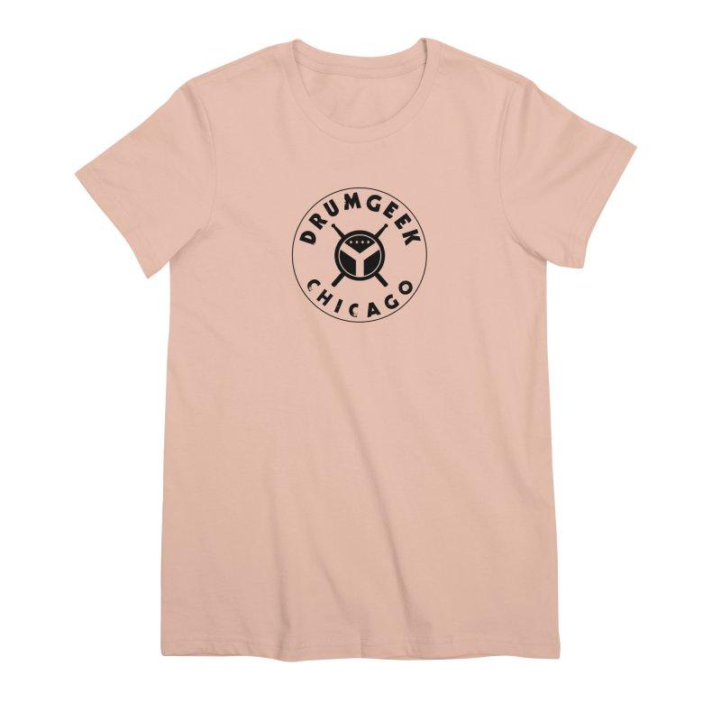 Chicago Drum Geek - Black Logo Women's Premium T-Shirt by Drum Geek Online Shop