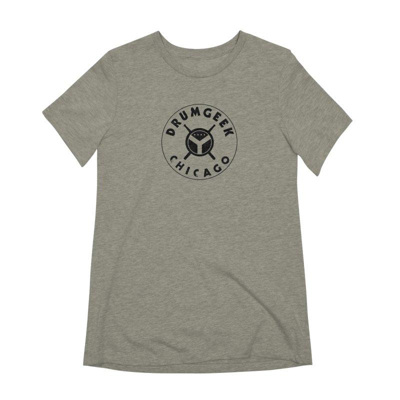 Chicago Drum Geek - Black Logo Women's Extra Soft T-Shirt by Drum Geek Online Shop