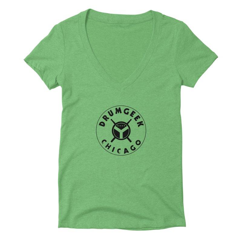 Chicago Drum Geek - Black Logo Women's Deep V-Neck V-Neck by Drum Geek Online Shop