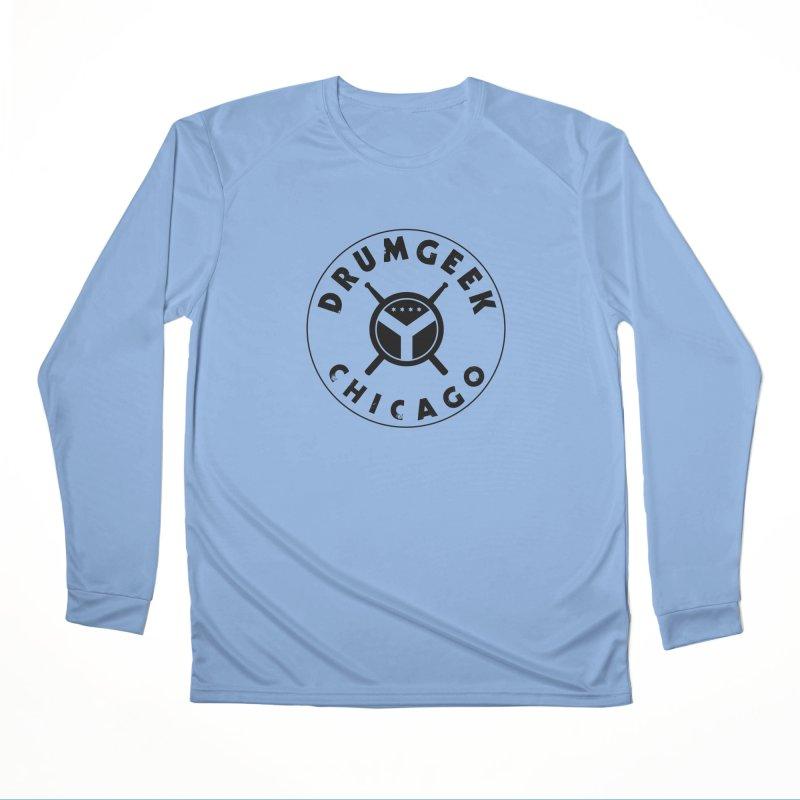 Chicago Drum Geek - Black Logo Men's Performance Longsleeve T-Shirt by Drum Geek Online Shop