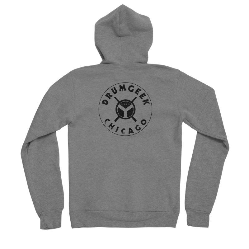 Chicago Drum Geek - Black Logo Men's Sponge Fleece Zip-Up Hoody by Drum Geek Online Shop