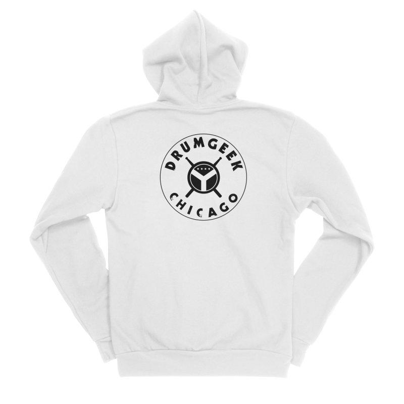 Chicago Drum Geek - Black Logo Women's Sponge Fleece Zip-Up Hoody by Drum Geek Online Shop