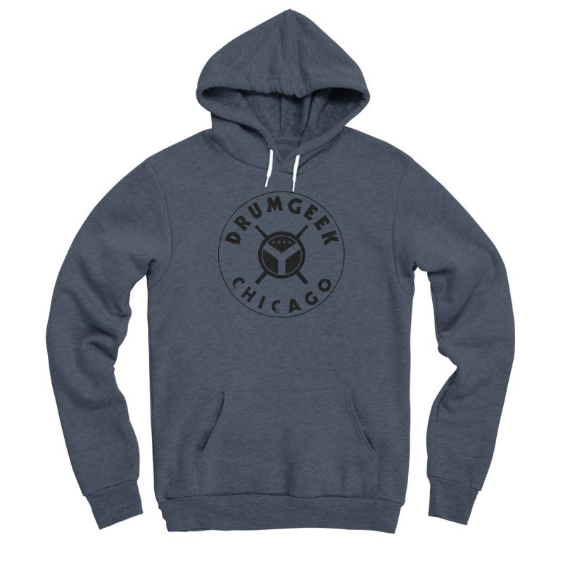 Chicago Drum Geek - Black Logo Men's Sponge Fleece Pullover Hoody by Drum Geek Online Shop