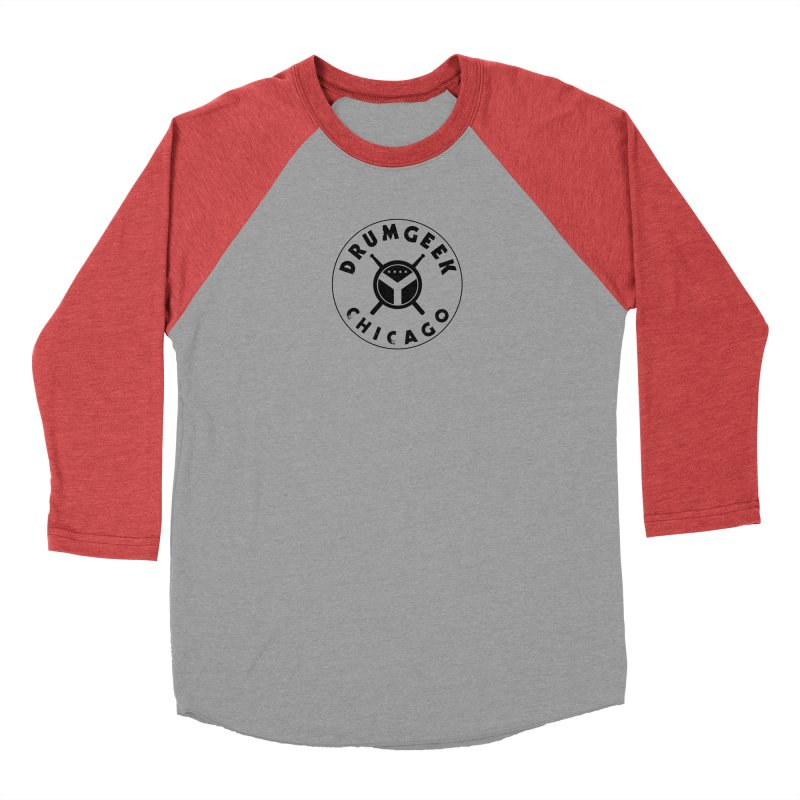 Chicago Drum Geek - Black Logo Women's Baseball Triblend Longsleeve T-Shirt by Drum Geek Online Shop