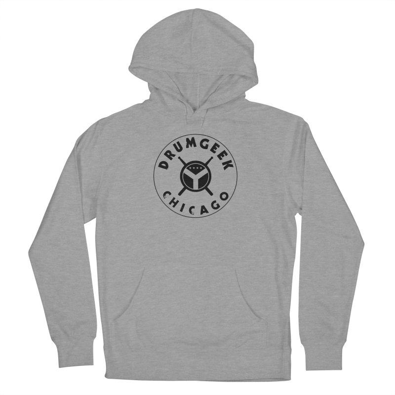 Chicago Drum Geek - Black Logo Men's French Terry Pullover Hoody by Drum Geek Online Shop