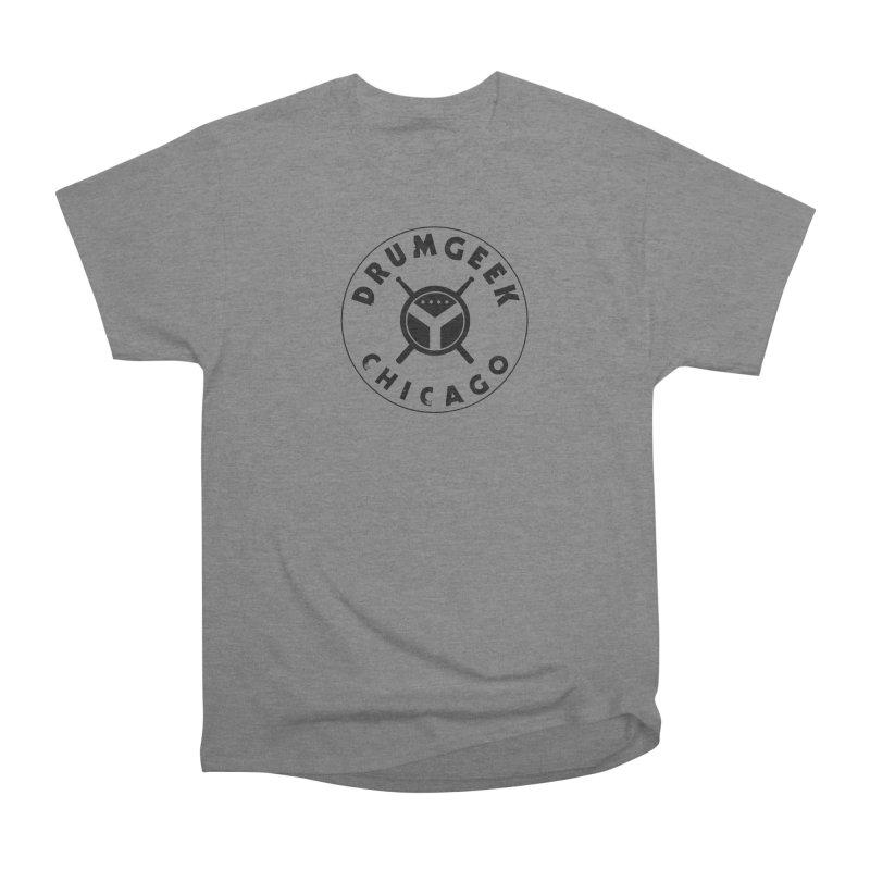 Chicago Drum Geek - Black Logo Women's Heavyweight Unisex T-Shirt by Drum Geek Online Shop