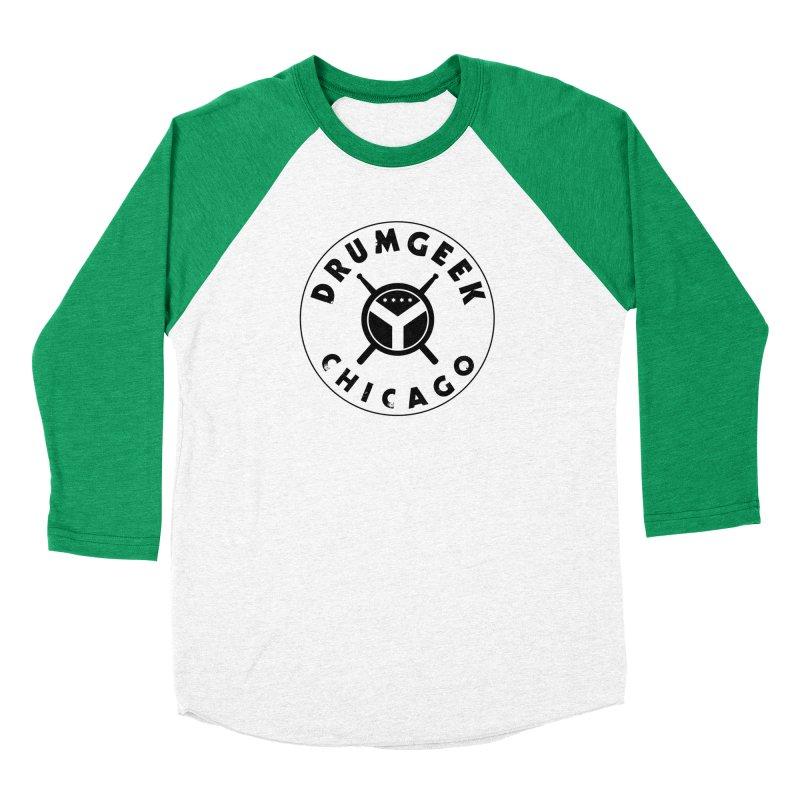 Chicago Drum Geek - Black Logo Men's Baseball Triblend Longsleeve T-Shirt by Drum Geek Online Shop