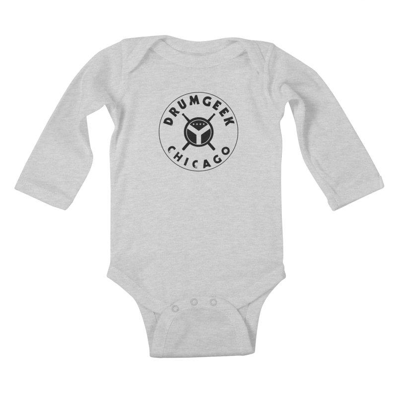 Chicago Drum Geek - Black Logo Kids Baby Longsleeve Bodysuit by Drum Geek Online Shop