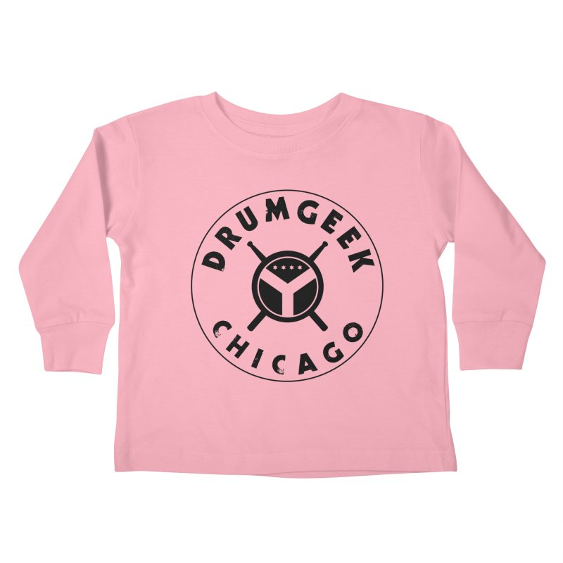 Chicago Drum Geek - Black Logo Kids Toddler Longsleeve T-Shirt by Drum Geek Online Shop