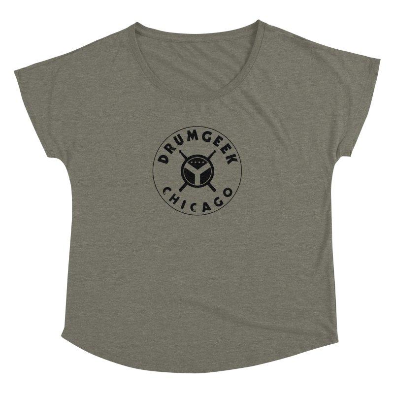 Chicago Drum Geek - Black Logo Women's Dolman Scoop Neck by Drum Geek Online Shop