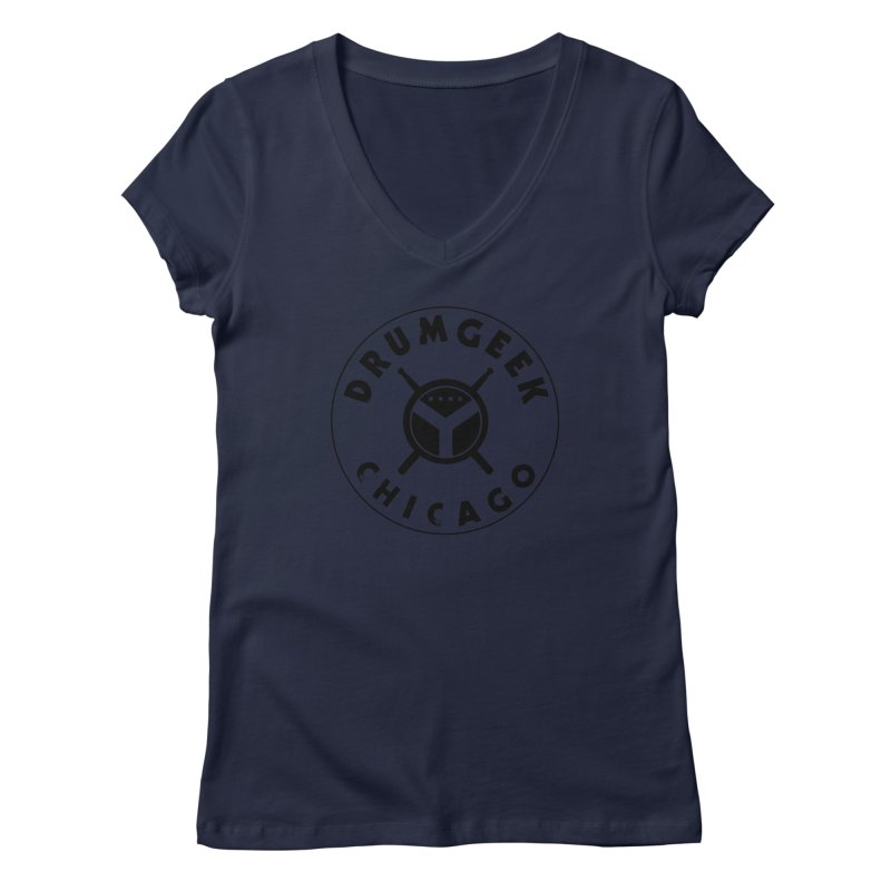 Chicago Drum Geek - Black Logo Women's Regular V-Neck by Drum Geek Online Shop