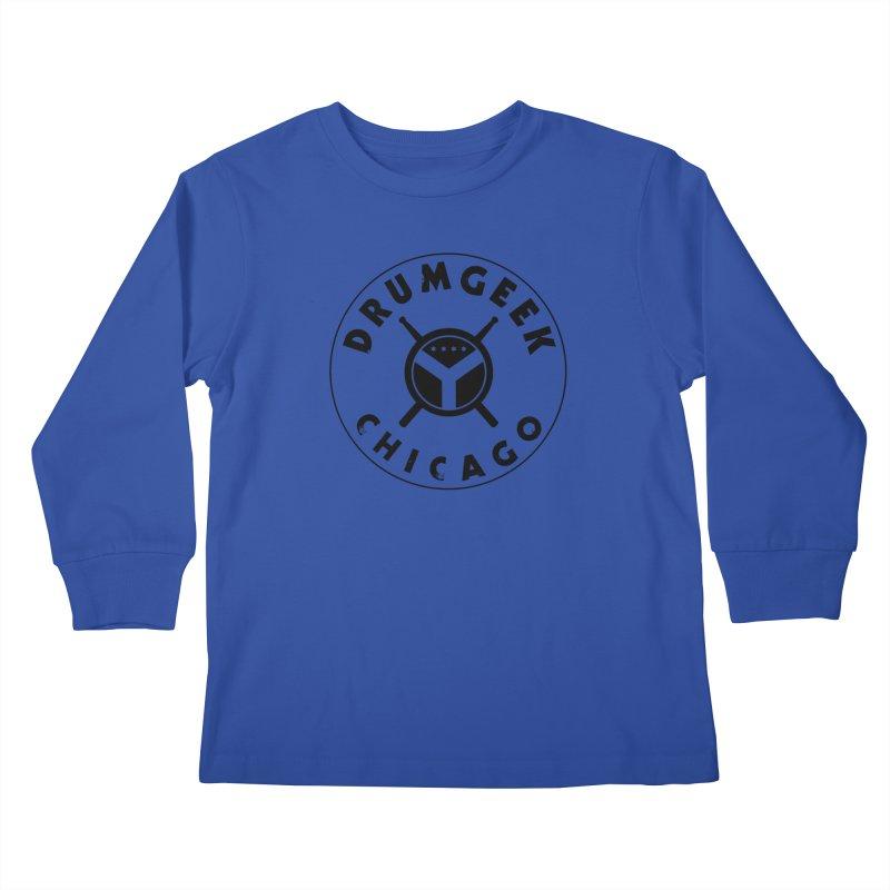 Chicago Drum Geek - Black Logo Kids Longsleeve T-Shirt by Drum Geek Online Shop