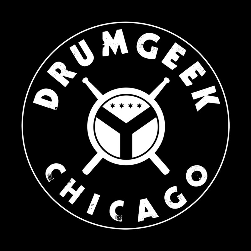 Chicago Drum Geek - White Logo Men's T-Shirt by Drum Geek Online Shop