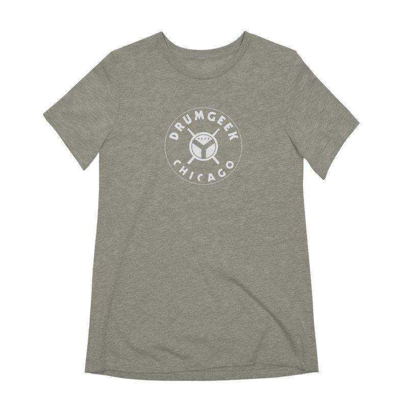 Chicago Drum Geek - White Logo Women's Extra Soft T-Shirt by Drum Geek Online Shop