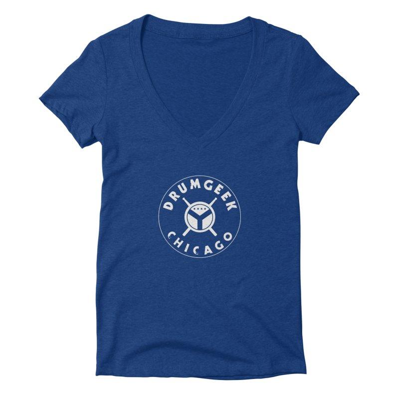Chicago Drum Geek - White Logo Women's Deep V-Neck V-Neck by Drum Geek Online Shop