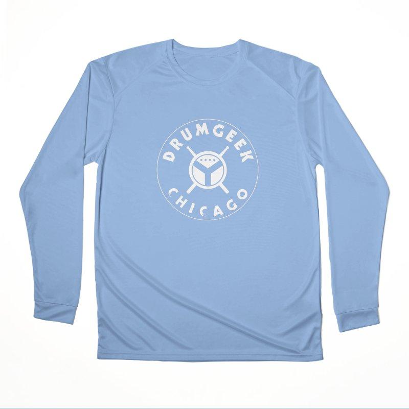 Chicago Drum Geek - White Logo Men's Longsleeve T-Shirt by Drum Geek Online Shop