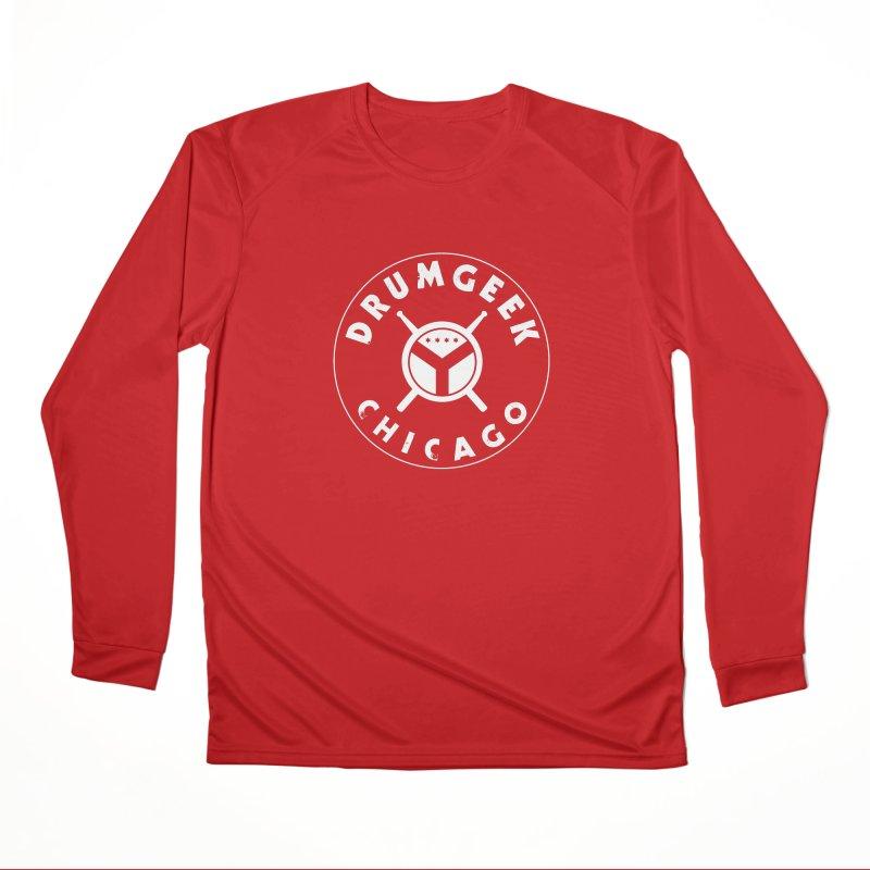 Chicago Drum Geek - White Logo Men's Performance Longsleeve T-Shirt by Drum Geek Online Shop