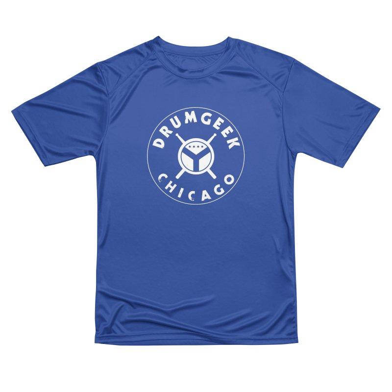 Chicago Drum Geek - White Logo Women's Performance Unisex T-Shirt by Drum Geek Online Shop