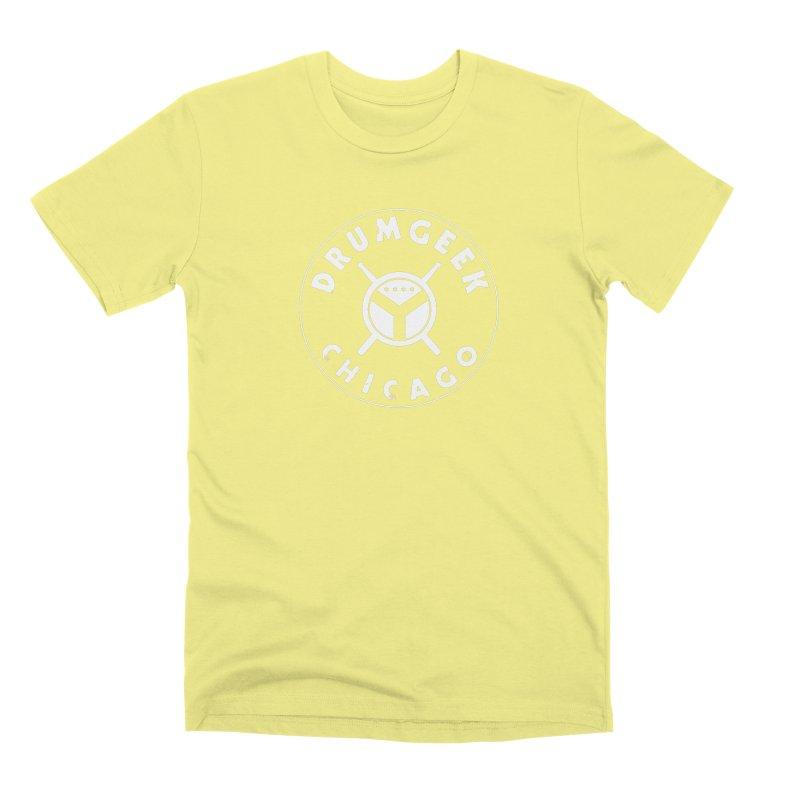 Chicago Drum Geek - White Logo Men's Premium T-Shirt by Drum Geek Online Shop