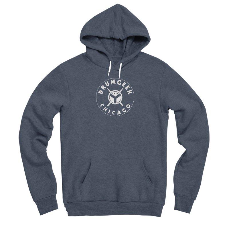 Chicago Drum Geek - White Logo Men's Sponge Fleece Pullover Hoody by Drum Geek Online Shop