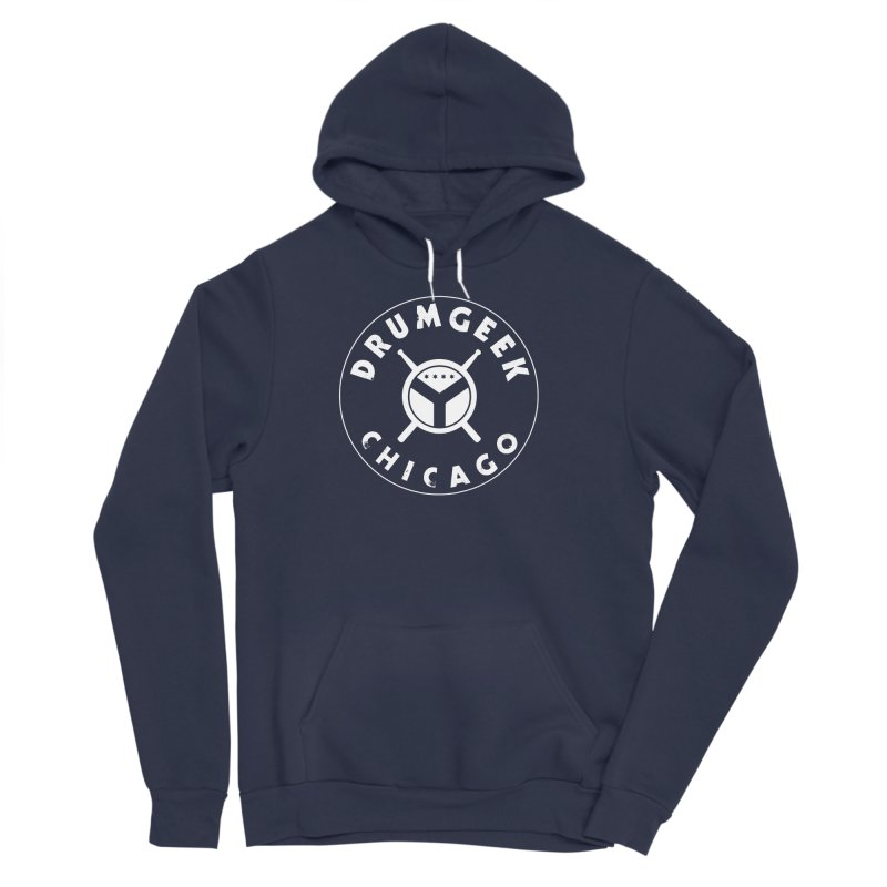 Chicago Drum Geek - White Logo Women's Sponge Fleece Pullover Hoody by Drum Geek Online Shop