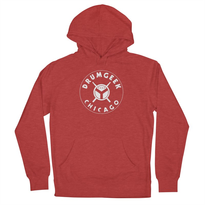 Chicago Drum Geek - White Logo Women's French Terry Pullover Hoody by Drum Geek Online Shop