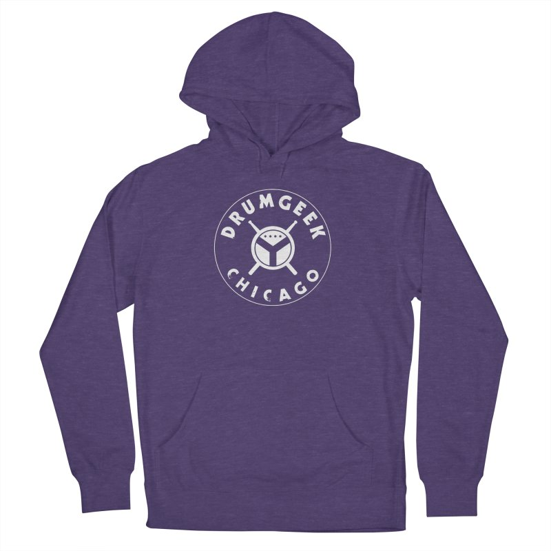 Chicago Drum Geek - White Logo Men's French Terry Pullover Hoody by Drum Geek Online Shop