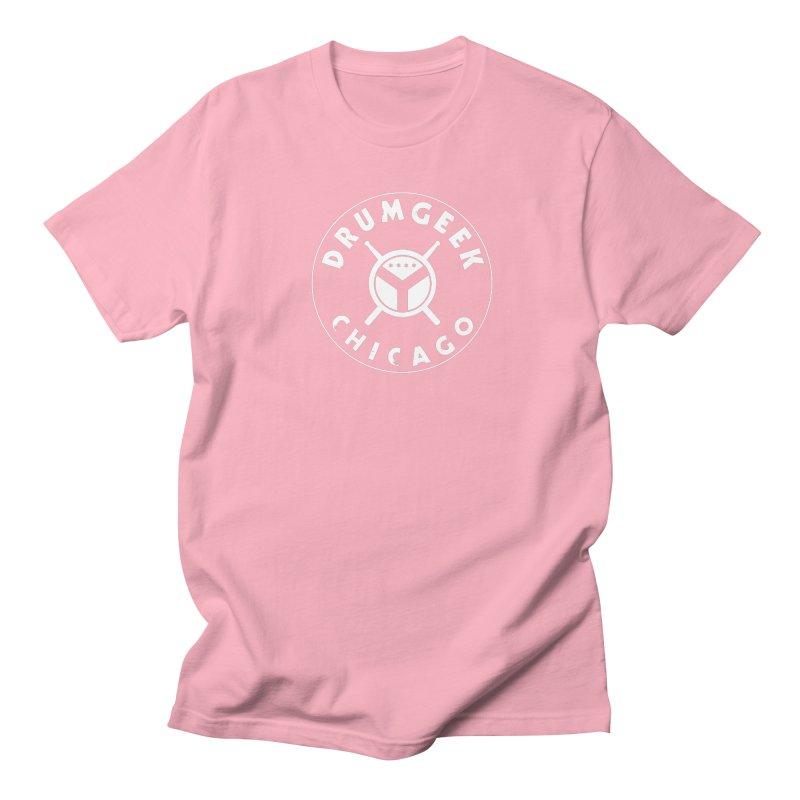 Chicago Drum Geek - White Logo Men's Regular T-Shirt by Drum Geek Online Shop