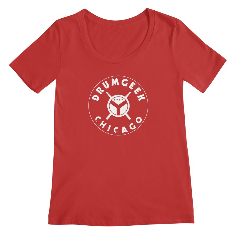 Chicago Drum Geek - White Logo Women's Regular Scoop Neck by Drum Geek Online Shop