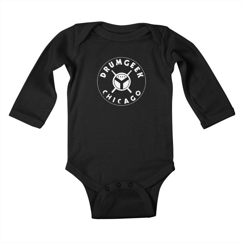 Chicago Drum Geek - White Logo Kids Baby Longsleeve Bodysuit by Drum Geek Online Shop