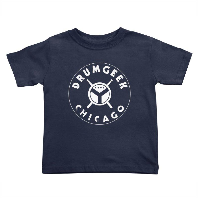 Chicago Drum Geek - White Logo Kids Toddler T-Shirt by Drum Geek Online Shop