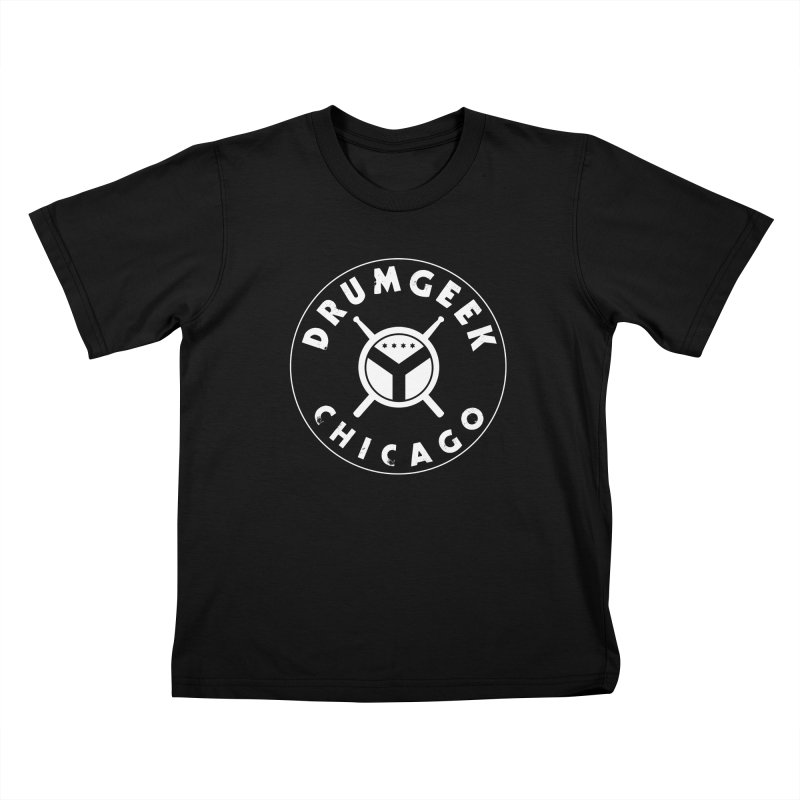 Chicago Drum Geek - White Logo Kids T-Shirt by Drum Geek Online Shop