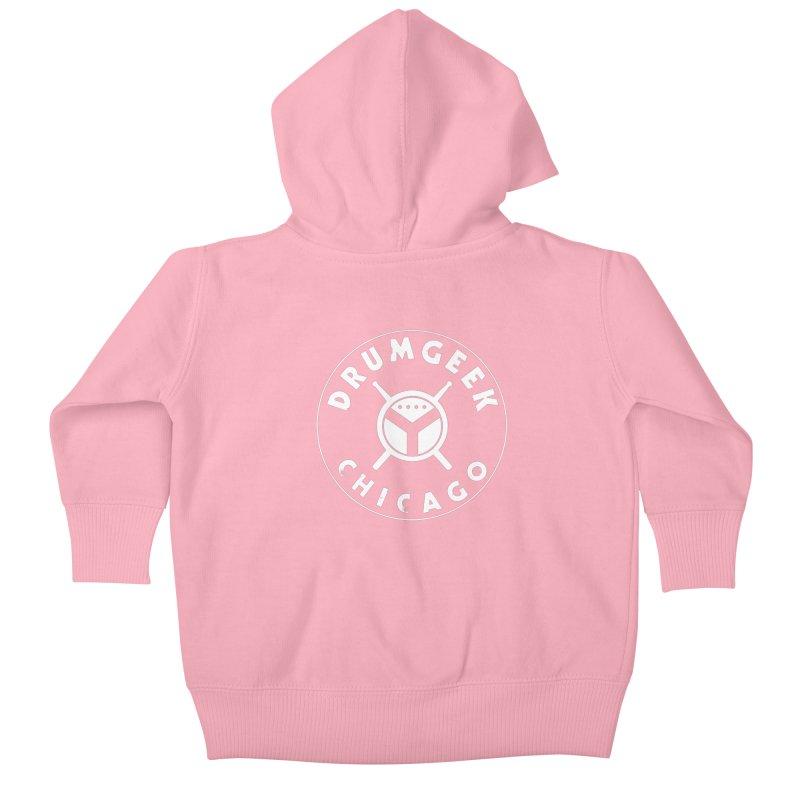 Chicago Drum Geek - White Logo Kids Baby Zip-Up Hoody by Drum Geek Online Shop