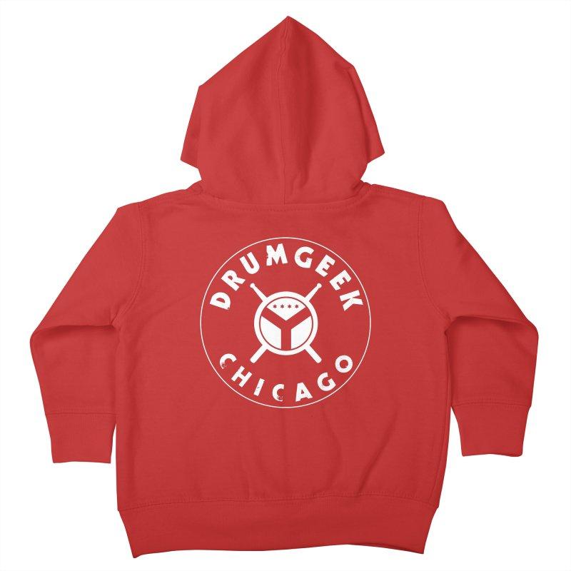 Chicago Drum Geek - White Logo Kids Toddler Zip-Up Hoody by Drum Geek Online Shop