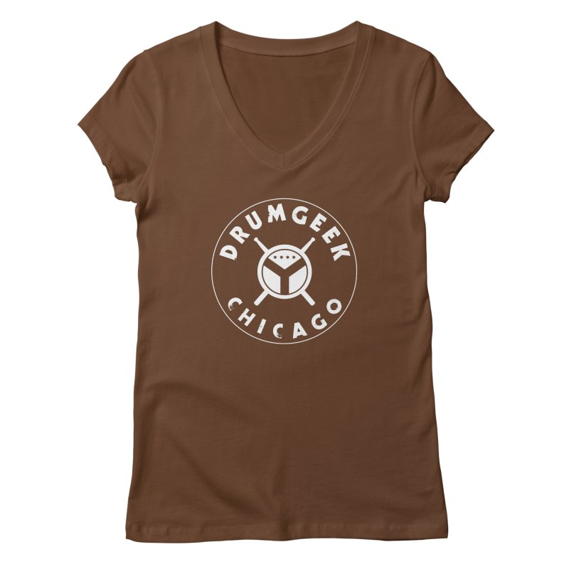 Chicago Drum Geek - White Logo Women's Regular V-Neck by Drum Geek Online Shop