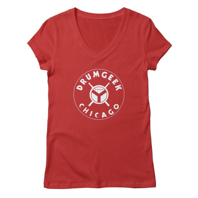 Chicago Drum Geek - White Logo Women's Regular V-Neck by Drum Geek Online Shop