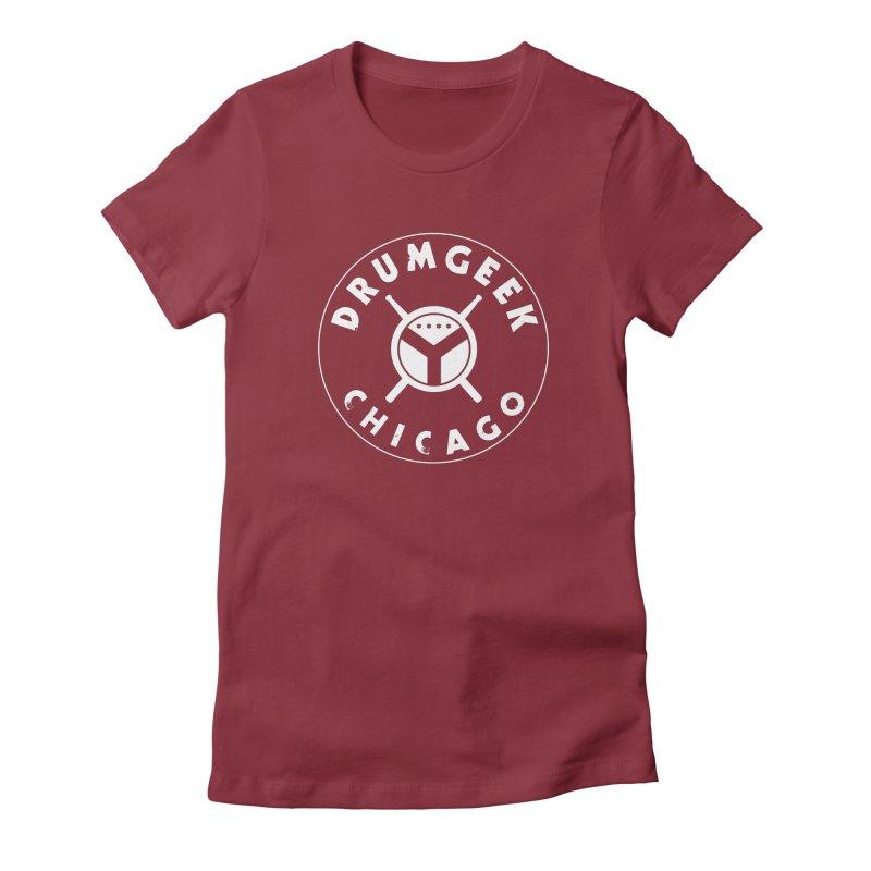 Chicago Drum Geek - White Logo Women's Fitted T-Shirt by Drum Geek Online Shop