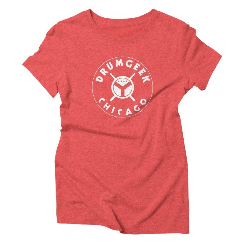 Chicago Drum Geek - White Logo Women's Triblend T-Shirt by Drum Geek Online Shop