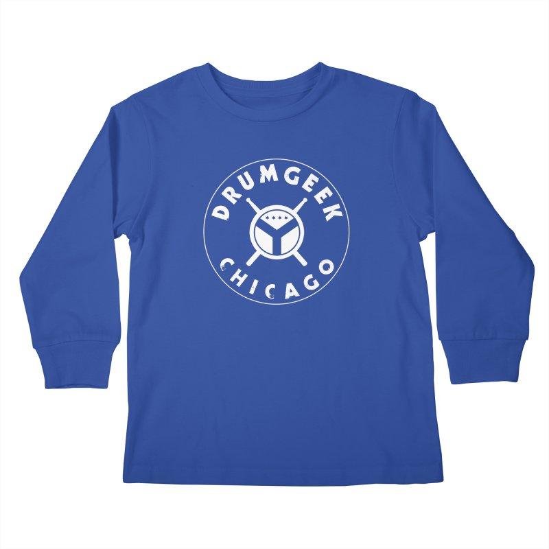 Chicago Drum Geek - White Logo Kids Longsleeve T-Shirt by Drum Geek Online Shop