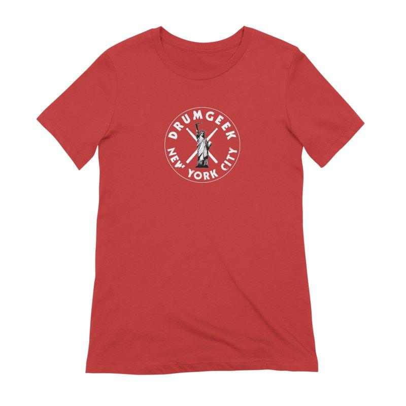Drum Geek New York (Style 2) - White Logo Women's Extra Soft T-Shirt by Drum Geek Online Shop